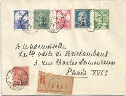 SEMEUSE + AMORTISSEMENT PASTEUR SURCHARGE LETTRE REC + VIGNETTES PTT CONTRE LA TUBERCULOSE PARIS 71 25.11.1927 - Marcophilie (Lettres)