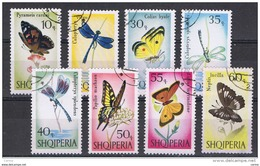 ALBANIA:  1966  FARFALLE  E  LIBELLULE  -  S. CPL. 8  VAL. US. -  YV/TELL. 872/79 - Albania