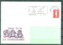 MARCOPHILIE - FREGATE VENDEMIAIRE ZMAS 93 / 94 Flamme De PARIS NAVAL Du 2 - 12 - 93 - Poste Navale