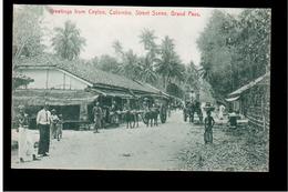 CEYLON Greetings From Ceylon Colombo Street Scene Grand Pass Ca 1910 OLD POSTCARD - Sri Lanka (Ceylon)