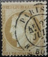 FRANCE Y&T N°55 Cérès 15c Bistre. Oblitéré CàD Paris - 1871-1875 Cérès