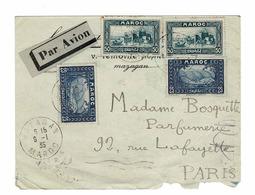 4 TP 50 & 25  SUR ENVELOPPE POUR PARIS,OBL MAZAGAN MAROC 9-1-35 - Maroc (1956-...)