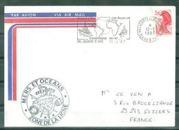 MARCOPHILIE - P H Jeanne D'Arc CDT BOURDAIS Campagne 86-87 MERS ET OCEANS ZONE DE LA LIGNE Flamme Du 12 - 2 -87 - Poste Navale