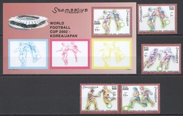 N644 1994 SOOMAALIYA SPORT FOOTBALL WORLD CUP 2002 KOREA JAPAN SET+BL MNH - Coupe Du Monde