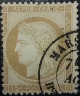 FRANCE Y&T N°55 Cérès 15c Bistre. Oblitéré CàD Marseille - 1871-1875 Cérès