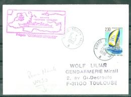MARCOPHILIE - FREGATE GEORGES LEYGUES (griffe CORVETTE) + Cachet Au Verso Revue Navale Cachet TOULON NAVAL Du 28-9-90 - Poste Navale
