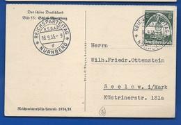 Carte  Affranchi à 6 Deutches Reich   Oblitération:  REICHSPARTEITAG NÜRNBERG 16/9/1935 - Germany