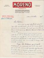 Facture 1946 / Vermouth MORENO / Ets Royal / Distillerie à Pontarlier 25  Doubs / Dépôt à Lyon - France
