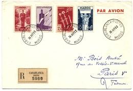 MAROC ENV 1953 CASABLANCA LETTRE RECOMMANDEE AVION - Maroc (1891-1956)