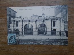 "Nimes , Porte D'auguste  "" Carte Animée De 1905 "" - Nîmes"