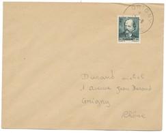 4F MASSENET SEUL SUR LETTRE OBLIT GRIGNY RHONE 15/09/1942 SUR LETTRE LOCALE VERSO CACHET DU MEME JOUR - Marcophilie (Lettres)