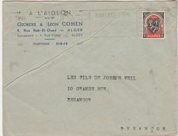 """Enveloppe Commerciale 1949 / """"A L'Aiglon"""" / Georges & Léon COHEN / Confection / 8 Rue Bab El Oued / Alger Algérie - Maps"""