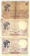France - 5 Francs Violet 1939 - 1940 Lot 3 Billets - 5 F 1917-1940 ''Violet''