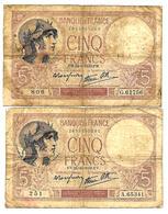 France - 5 Francs Violet 1939 Lot 2 Billets - 1871-1952 Antiguos Francos Circulantes En El XX Siglo