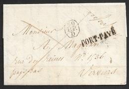 1822 - LAC - PARIS A VERVIERS -  60 P.P D - PORT PAYÉ - Verso Marque D'entree FRANRYK / OVER DINANT - 1801-1848: Precursors XIX