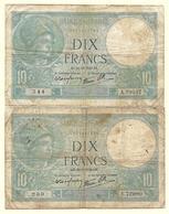 France - 10 Francs Minerve 28 9 1939 Et 14 11 1940 Lot 2 Billets - 1871-1952 Anciens Francs Circulés Au XXème