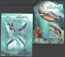 VV585 2013 CENTRAL AFRICA CENTRAFRICAINE FAUNA FISH & MARINE LIFE LES BALEINES WHALES KB+BL MNH - Dauphins