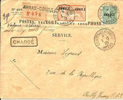 """REC. Chargé Du COURS D'INSTRUCTION D'ARRAS -Semeuse Et Merson Surchargés """" ANNULE """" - 1928 - - Non Dentelés"""