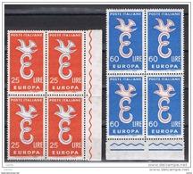 REPUBBLICA:  1958  EUROPA  CEPT  -  S. CPL. 2  VAL. BL. 4  N. -  SASS. 838/39 - Europa-CEPT