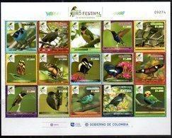 COLOMBIA, 2018, MNH, BIRDS, BUTTERFLIES, SHEETLET - Oiseaux