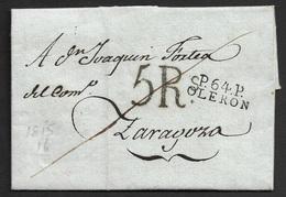 1816 - LAC - P.64.P OLERON 18mm X 9mm A ZARAGOZA (ESPAGNE) - 5R Taxe - Verso Marque Zª - TB - Postmark Collection (Covers)