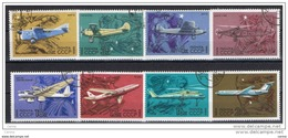 RUSSIA:   1969  STORIA  DELL'  AVIAZIONE  -  S. CPL. 8  VAL. US. -  YV/TELL. 3559/66 - Usati
