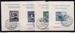ESPAÑA 1961 - Velazquez Hojas Bloque Mataselladas - Blocks & Kleinbögen
