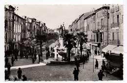- CPSM PEZENAS (34) - Cours Jean-Jaurès Et Place De La République - Editions NARBO N° 3 - - Pezenas