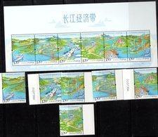 CHINA, 2018, MNH, YANTZE ECONOMIC ZONE, SHIPS, PLANES, TRAINS, BRIDGES, TEMPLES, MOUNTAINS, FISH, DOLPHINS, 6v+SHEETLET - Dauphins