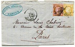 LOIRE ATLANTIQUE De NANTES LAC Du 11/03/1874 Avec N°58+N°59 Oblitérés GC 2602 - Postmark Collection (Covers)
