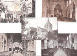 FIVE PEVENSEY CHURCH INTERIOR & EXTERIOR POSTCARDS NR EASTBOURNE - England