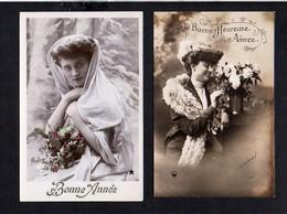 Fête Et Voeux ( 2 Cartes ) / Bonne,Joyeuse,Heureuse Année,Voeux / Jeune Fille,femme,fantaisie,fleurs,etc... - Nouvel An