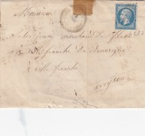 LETTRE. 1865. PERLÉ T22 TARN. VILLEFRANCHE D'ALBIGEOIS. GC 4237 - Storia Postale