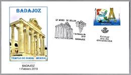 12 MESES - 12 SELLOS - BADAJOZ - TEMPLO DE DIANA (MERIDA). SPD/FDC Badajoz, Extremadura, 2019 - Arqueología