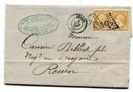 ARDENNES De SEDAN LAC Du 9/10/1867 Avec N°21 En Paire Oblitérés GC 3352 - Postmark Collection (Covers)