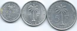 Belgian Congo - Ruanda-Urundi - 1955 - 50 Centimes - KM2; 1957 - 1 Franc - KM4 & 1959 - 5 Francs - KM3 - Congo (Belge) & Ruanda-Urundi