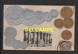 DD / REPRESENTATION DE MONNAIES D' EGYPTE ET TEMPLE DE LUXOR / CARTE GAUFRÉE / 1907 - Monnaies (représentations)