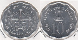 India 10 Paise 1976 (Food And Work For All) KM#30 - Used - Inde