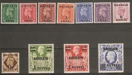 BAHRAIN 1948 - 1949 SET SG 51/60 LIGHTLY MOUNTED MINT Cat £100 - Bahrain (...-1965)