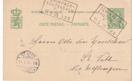 LUXEMBOURG 1905   ENTIER POSTAL/GANZSACHE/POSTAL STATIONERY CARTE AVEC CACHET FERROVIAIRE SCHIMPACH-KAUTERBACH - Stamped Stationery