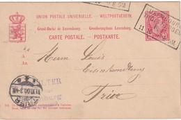 LUXEMBOURG 1910   ENTIER POSTAL/GANZSACHE/POSTAL STATIONERY CARTE AVEC CACHET FERROVIAIRE LUXEMBOURG-TROIS VIERGES - Entiers Postaux