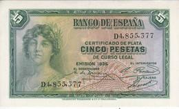 BILLETE DE ESPAÑA DE 5 PTAS DEL AÑO 1935 SERIE D EN CALIDAD EBC (XF)   (BANKNOTE) - 5 Pesetas