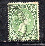APR673 - FALKLAND 1891 , Yvert N. 8  Usato : Due Nuance  (2380A) . - Falkland