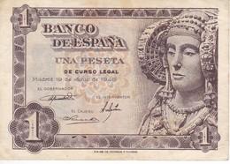 BILLETE DE 1 PTA DEL AÑO 1948 SERIE M CALIDAD MBC (VF)  DAMA DE ELCHE  (BANKNOTE) - [ 3] 1936-1975 : Régence De Franco