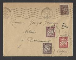 FRANCE.  YT  Lettre  Pour Remiremont Vosge  (lettre Taxée)  1942 - Storia Postale
