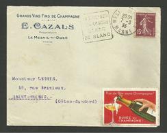 """Dpt. MARNE """" Vins De Champagne E. CAZALS """" à MESNIL SUR OGER / Daguin & Vignette Concordante / Devant De Lettre 1933 - Postmark Collection (Covers)"""