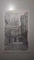 UK - England - Canterbury - Mercery Lane & Christchurch Gate - Pencil Sketch - Canterbury