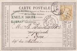 CARTE PRECURSEUR. 1874. CALVADOS DE GUIBRAY PAR FALAISE POUR LYON - 1849-1876: Classic Period
