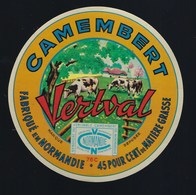 """étiquette Fromage  Camembert Normandie Vertval 76C 45%mg """"vaches"""" - Quesos"""