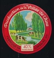 """étiquette Fromage  Camembert Lorraine Production De La Vallée De L'Aire Meuse 55 R """"vaches"""" Martin Collet Rosnes - Quesos"""
